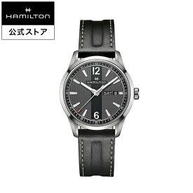 ハミルトン 公式 腕時計 HAMILTON Broadway Day Date ブロードウェイ デイデイト クオーツ 40.00MM レザーベルト ブラック × ブラック H43311735 メンズ腕時計 男性 正規品 ブランド ビジネス シンプル