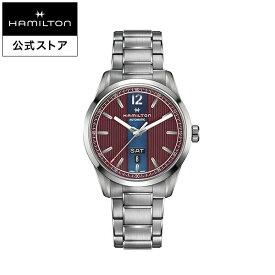 ハミルトン 公式 腕時計 HAMILTON Broadway Day Date ブロードウェイ デイデイト オートマティック 自動巻き 42.00MM ステンレススチールブレス ワインレッド × シルバー H43515175 メンズ腕時計 男性 正規品 ブランド ビジネス シンプル