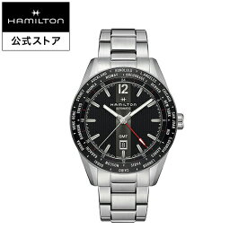 ハミルトン 公式 腕時計 HAMILTON Broadway GMT ブロードウェイ GMT オートマティック 自動巻き 46.00MM ステンレススチールブレス ブラック × シルバー H43725131 メンズ腕時計 男性 正規品 ブランド ビジネス シンプル