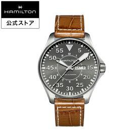 ハミルトン 公式 腕時計 HAMILTON Khaki Aviation Khaki Pilot カーキ アビエーション パイロット デイデイト オートマティック 自動巻き 46.00MM レザーベルト グレー × ブラウン H64715885 メンズ腕時計 男性 正規品 航空時計 パイロットウォッチ