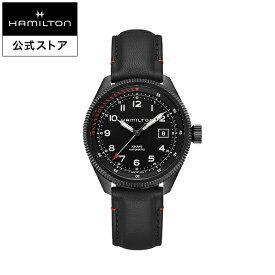 ハミルトン 公式 腕時計 HAMILTON Khaki Aviation Khaki Takeoff カーキ アビエーション テイクオフ エアーツェルマット オートマティック 自動巻き 42.00MM レザーベルト ブラック × ブラック H76695733 メンズ腕時計 男性 正規品 航空時計 パイロットウォッチ