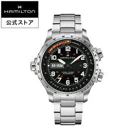 ハミルトン 公式 腕時計 HAMILTON Khaki Aviation Khaki X-Wind カーキ アビエーション X-Wind デイデイト オートマティック 自動巻き 45.00MM ステンレススチールブレス ブラック × シルバー H77755133 メンズ腕時計 男性 正規品 航空時計 パイロットウォッチ