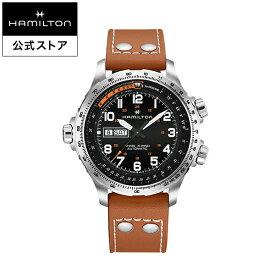 ハミルトン 公式 腕時計 HAMILTON Khaki Aviation Khaki X-Wind カーキ アビエーション X-Wind デイデイト オートマティック 自動巻き 45.00MM レザーベルト ブラック × ブラウン H77755533 メンズ腕時計 男性 正規品 航空時計 パイロットウォッチ