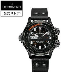 ハミルトン 公式 腕時計 HAMILTON Khaki Aviation Khaki X-Wind カーキ アビエーション X-Wind デイデイト オートマティック 自動巻き 45.00MM レザーベルト ブラック × ブラック H77785733 メンズ腕時計 男性 正規品 航空時計 パイロットウォッチ
