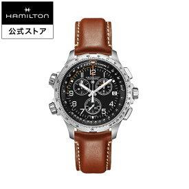 ハミルトン 公式 腕時計 HAMILTON Khaki Aviation Khaki X-Wind カーキ アビエーション X-Wind GMT クオーツ クォーツ 46.00MM レザーベルト ブラック × ブラウン H77912535 メンズ腕時計 男性 正規品 航空時計 パイロットウォッチ