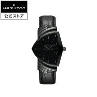 ハミルトン公式腕時計メンズベンチュラフルブラック電池式クォーツ32,3mm×50,3mmブラック革ベルトH24401731