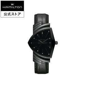 ハミルトン 公式 腕時計 HAMILTON Ventura ベンチュラ クオーツ 32.30MM レザーベルト ブラック × ブラック H24401731 メンズ腕時計 男性 正規品 ブランド