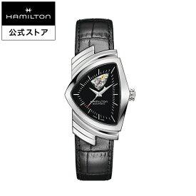 ハミルトン 公式 腕時計 HAMILTON Ventura Open Heart ベンチュラ オープンハート オートマティック 自動巻き 34.70MM レザーベルト ブラック × ブラック H24515732 メンズ腕時計 男性 正規品 ブランド