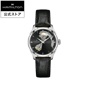 ハミルトン 公式 腕時計 HAMILTON Jazzmaster Open Heart Lady ジャズマスター オープンハート レディ オートマティック 自動巻き 36.00MM レザーベルト ブラック × ブラック H32215730 レディース腕時計 女性 正規品 ブランド
