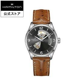 ハミルトン 公式 腕時計 HAMILTON Jazzmaster Open Heart ジャズマスター オープンハート オートマティック 自動巻き 42.00MM レザーベルト グレー × ブラウン H32705581 メンズ腕時計 男性 正規品 ブランド ビジネス シンプル