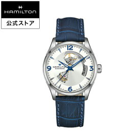 ハミルトン 公式 腕時計 HAMILTON Jazzmaster Jazzmaster ジャズマスター オープンハート オートマティック 自動巻き 42.00MM レザーベルト シルバー × ブルー H32705651 メンズ腕時計 男性 正規品 ブランド ビジネス シンプル