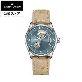 ハミルトン 公式 腕時計 HAMILTON Jazzmaster Open Heart ジャズマスター オープンハート オートマティック 自動巻き 42.00MM レザーベルト ブルー × ベージュ H32705842 メンズ腕時計 男性 正規品 ブランド ビジネス シンプル