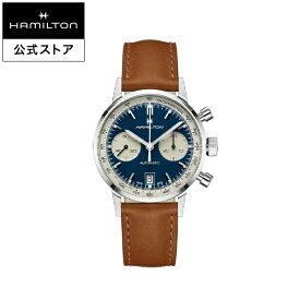 ハミルトン 公式 腕時計 HAMILTON American Classic Intra-Matic アメリカンクラシック イントラマティック オートクロノ オートマティック 自動巻き 40.00MM レザーベルト ブルー × ブラウン H38416541 メンズ腕時計 男性 正規品 ブランド