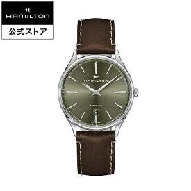 ハミルトン 公式 腕時計 HAMILTON Jazzmaster Thinline ジャズマスター シンライン オートマティック 自動巻き 40.00MM レザーベルト グリーン × ブラウン H38525561 メンズ腕時計 男性 正規品 ブランド ビジネス シンプル