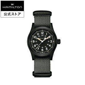 ハミルトン 公式 腕時計 HAMILTON Khaki Field カーキ フィールド メカニカル 機械式 手巻き 38.00MM テキスタイルベルト ブラック × グレー H69409930 メンズ腕時計 男性 正規品 ブランド アウトドア