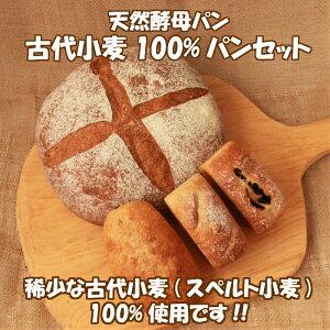 天然酵母 古代小麦100%のパンセット〜送料無料! 4種類の古代パンセット オーガニック 天然酵母パン 古代小麦 スペルト小麦 グルテン少なめ 卵不使用 添加物不使用 健康パン ギフト プレゼ