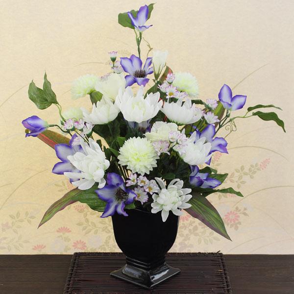 仏花 クレマチス菊フラワーアレンジアートフラワー(造花)光触媒orテルクリン選択可寸法:高さ約50cm