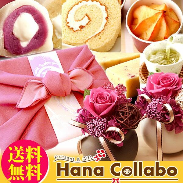 誕生日プレゼント 女性 プリザーブドフラワー お祝い ギフト 花とスイーツセット お祝い お菓子 和菓子セット 母 贈り物 あす楽