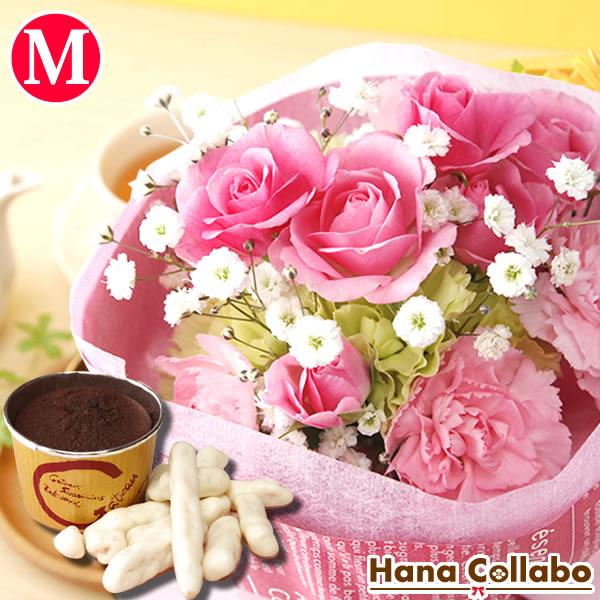 花束 季節の誕生日花セット(Mサイズ)誕生日プレゼント 4月 カーネーション 女性 女友達 母 妻への贈り物 花とスイーツセット 薔薇 生花 結婚祝い