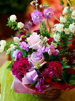 バレンタイン 御祝 開店祝い プレゼント おまかせ パープル系フラワーアレンジメント 花 人気ランキング 花ギフト 花束 結婚記念日 (就任 送別 誕生日 などにも) バラ 還暦 31