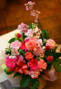 バレンタイン 御祝 開店祝い プレゼントにも おまかせ ピンク系フラワーアレンジメント 花 人気ランキング 花ギフト 花束 結婚記念日 (就任 送別 誕生日 などにも) バラ 還暦 42