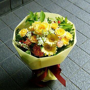 父の日 御祝 開店祝い プレゼント おまかせ 黄色オレンジ系ブーケ 花束 父の日 御祝 開店祝いギフト お祝い 花 人気ランキング 花ギフト 花束 結婚記念日 (就任 送別 誕生日 などにも) バラ 還暦 9 花束