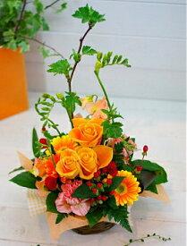 誕生日 開店祝い 入学祝い プレゼント おまかせ 黄色オレンジ系フラワーアレンジメント 花 人気ランキング 花ギフト 花束 バレンタイン (就任 送別 誕生日 などにも) バラ 就任 送別 90