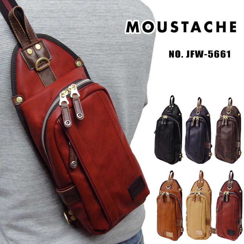 ムスタッシュ ボディバッグ MOUSTACHE ワンショルダーバッグ 合皮 斜めがけバッグ メンズ レディース JFW-5661