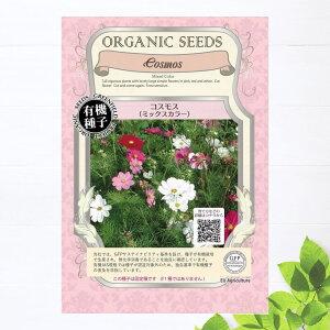 【有機種子】 コスモス(ミックスカラー) Sサイズ 0.7g(約120粒) 種蒔時期 3〜7月