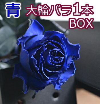 大臣賞 大輪 青バラ 一輪BOX 結婚記念日 誕生日 プレゼント 妻 ボックス プロポーズ 花束 1本 一本 1輪 ブルーローズ 薔薇 箱入り 両親