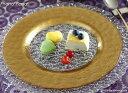 マラケシュ リムプレート28cm ゴールド 大皿 ガラス //お皿 おしゃれ