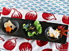 kuroppu圆形3连盘子冷盘盘子黑色的餐具