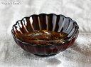 カネコ小兵 ぎやまん陶 菊形しょうゆ皿 9cm ブルー/ブラウン/グリーン//美濃焼 和食器