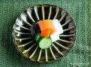 カネコ小兵 ぎやまん陶 菊形小皿 12cm ブルー/ブラウン/グリーン//美濃焼 和食器 お皿 おしゃれ キャッシュレス 還元