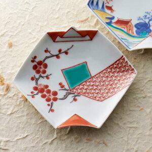 (クーポン配布中)錦地紋に梅 折紙型 豆皿 10.5cm 有田焼// 和食器 食器 正月