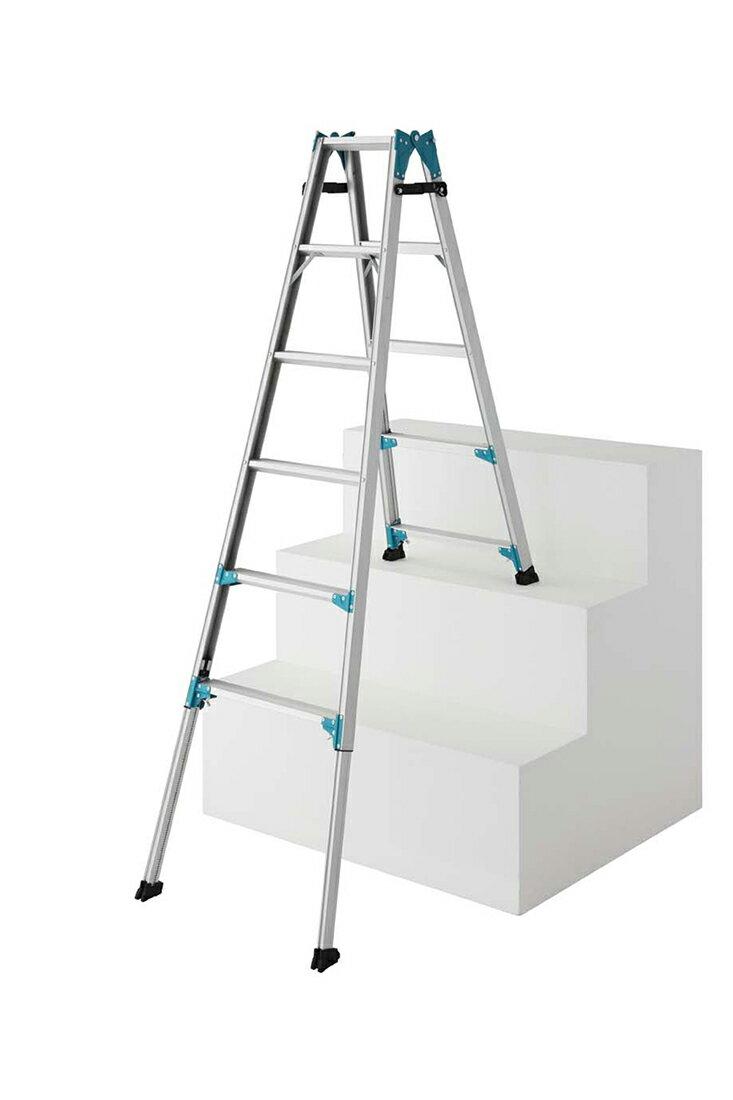 【RYE1.0-18】長谷川工業 ハセガワ hasegawa 伸縮脚立 はしご兼用脚立 はしごになれる脚立 階段脚立 161cm〜206cm