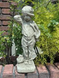 ガーデニング ガーデン いぬ 猫 イングリッシュ 英国 雑貨 ストーン製【花遊び】 『Guitar Boy』