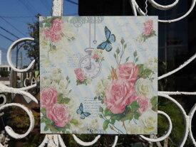 ガーデニング雑貨 ガーデン ハンギング フラワープレート アイアン ウエルカム 壁掛け『Clock Butterfly Rose ティンプレート』