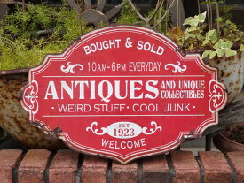 プレート アイアン 雑貨 ガーデニング ガーデン『ANTIQES Red Sign』