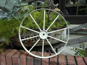 ガーデニング雑貨 ガーデン 車輪 ホイール 台車トレリス フェンス アイアン アンティーク『ホワイトアイアン車輪・M』