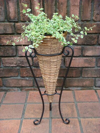 ガーデニング雑貨 ガーデン 鉢 籐 アイアン 植木鉢スタンド カップ プランター 寄せ植え【花遊び】『コーン♪スタンドポット』