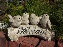 小鳥 バード オブジェ 置物 樹脂アニマル 動物 雑貨 ガーデニング ガーデン【花遊び】『happy♪ホワイトwelcomeバード』