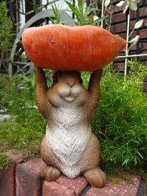 うさぎ にんじん ポット ハンギング オーナメント 樹脂ガーデニング ガーデン アンティーク【花遊び】『うさぎホールドUPキャロット』