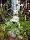 ガーデニング ガーデン うさぎ ラビット バスケット寄せ植え 置物 樹脂アニマル 動物 雑貨 【花遊び】『ガーデンバスケ・ラビット』