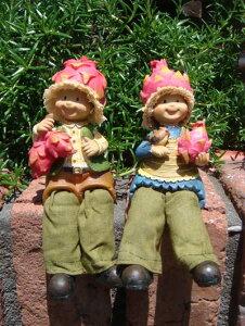 ガーデニング雑貨 ガーデンお人形 ドール 妖精 お座り 【花遊び】『おすわり妖精♪ドラゴンフルーツ』