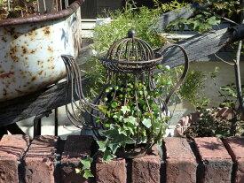 ガーデン雑貨 ガーデニング ティーポット 鳥かごインテリア プランター アイアン アンティーク【花遊び】『ガーデン♪アイアンティーポット・B』