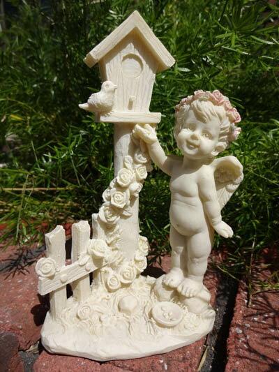 エンジェル フェアリー ローズ 天使 羽根 オーナメント小鳥 ガーデニング ガーデン 雑貨 アンティーク 樹脂 置物【花遊び】『ピンクローズ 天使と小鳥』
