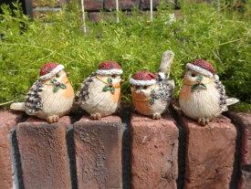 ガーデニング ガーデン クリスマス バードオブジェ キャンドル アンティーク【NEW】『キラキラ小鳥サンタ4!』