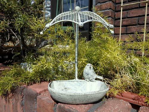 ガーデニング雑貨 ガーデン バード 小鳥アンティーク アイアン プランター【花遊び】『パラソルバードフィダー』