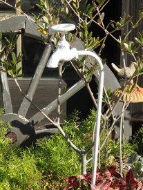 ガーデニング雑貨 ガーデン 蛇口 車輪 アイアンハンギング インテリア 雑貨 プランター【花遊び】『ナチュール♪タップピック・ホワイト』